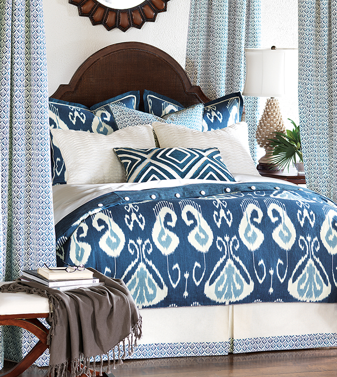 Ceylon - blue ikat bedding,blue tropical bedding,blue beach bedding,tie dyed blue bedding,modern tropical,contemporary,casual tropical,blue and white,blue tribal bedding,ethnic,coastal,lake house