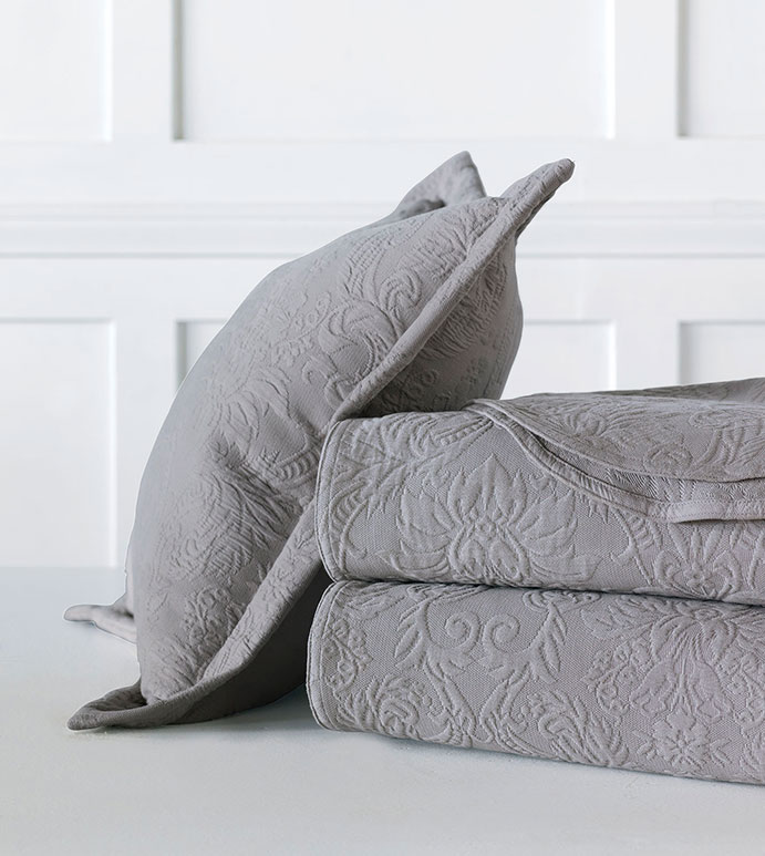 Sandrine Matelasse - bed skirt, dove, dovetail, grand sham, coverlet, throw, euro sham, king hsam, standard sham, boudoir, bed pillow, pillow, decorative pillow, accent pillow, throw pillow, flange, neutral, natural, 100% cototn, cotton, matelasse, quilted, bedding, bedding collection, bedset, home décor, home goods, accessories, interior design, cozy, soft, texture, luxury, luxurious, expensive, high end, high quality, good quality, Portugal, woven, Egyptian, egyptian cotton, damask, floral, traditional, design, pattern, motif, jacquard, grey, gray