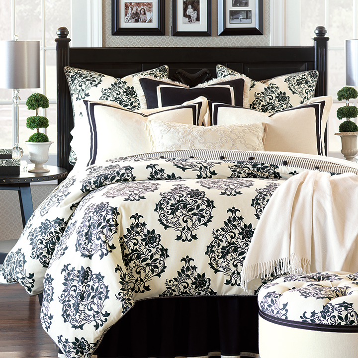 Evelyn - black and white damask bedding,black and white,white and black,black and ivory,black and cream,damask bedding,contrast.black damask bedding,neutral,victorian bedding,traditional,stripe