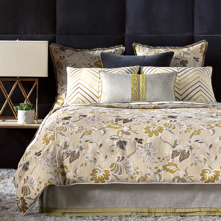 Caldwell - bright contemporary bedding,floral bedding,contemporary eclectic bedding,sophisticated,transitional bedding,muted feminine,tan and green,tan and blue,blue and green,botanical
