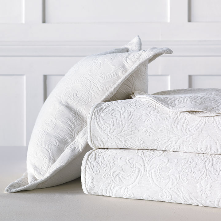 Sandrine Matelasse - White - bed skirt, grand sham, coverlet, throw, euro sham, king hsam, standard sham, boudoir, bed pillow, pillow, decorative pillow, accent pillow, throw pillow, flange, neutral, natural, 100% cototn, cotton, matelasse, quilted, bedding, bedding collection, bedset, home décor, home goods, accessories, interior design, cozy, soft, texture, luxury, luxurious, expensive, high end, high quality, good quality, Portugal, woven, Egyptian, egyptian cotton, damask, floral, traditional, design, pattern, motif, jacquard, white