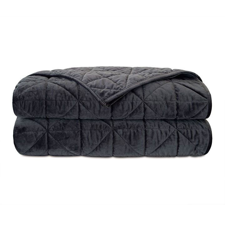 Nova Quilted Velvet Coverlet In Slate