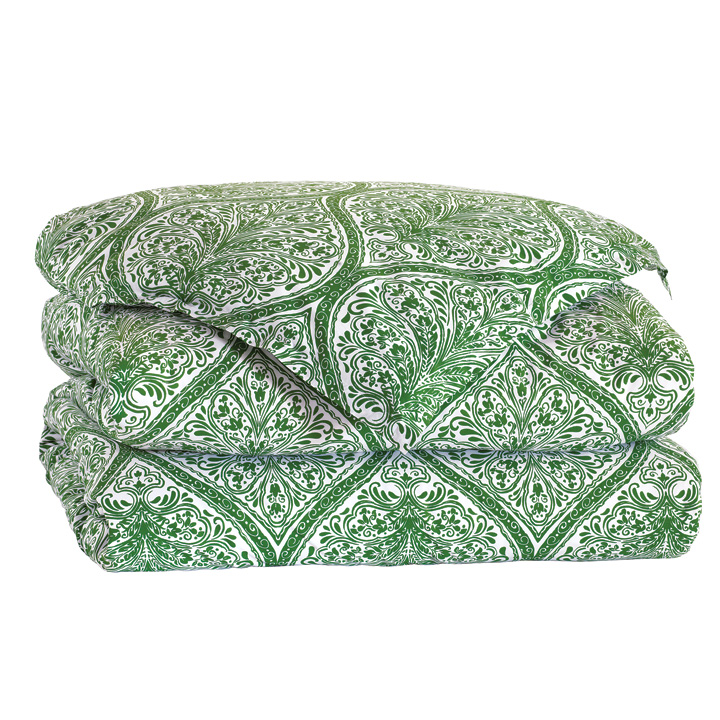 Adelle Percale Duvet Cover in Grass and Comforter