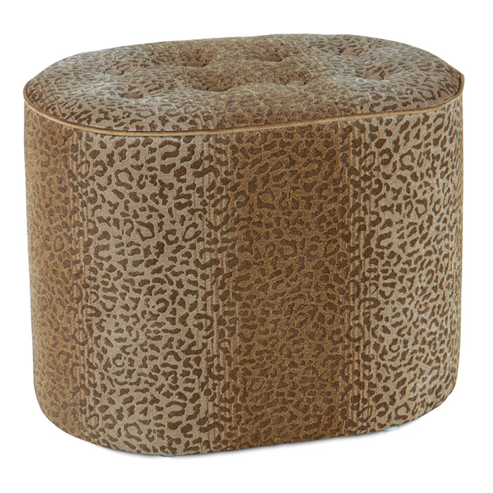 CONGO GOLD & BROWN OVAL OTTOMAN