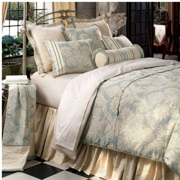 Carlyle - traditional victorian bedding,ivory and blue bedding,blue paisley,spa blue beset,muted traditional bedding,large paisley,classic,elegant,formal,striped,victorian home bedding,ivory