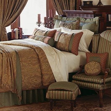 Glenwood - traditional paisley bedding,gold and red paisley,classic paisley bedding,traditional victorian bedding,green and gold,red and green,striped,ornamented,victorian bedding,gold paisley