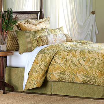 Antigua - luxury bedding, designer bedding, coastal, tropical, palm leaf, beads, beaded, hand-painted, decorative pillows, throw pillows, accent pillows, duvet cover, bolster, curtain panel, draperies, curtains, comforter, shams, storage chest, ottoman, bed skirt, throw, table runner,