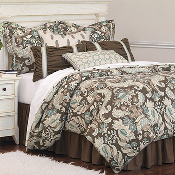 Kira - blue and brown floral,brown and turquoise floral bedding,brown floral bedding,blue and brown,brown and blue,damask,brown damask bedding,brown paisley bedding,elegant