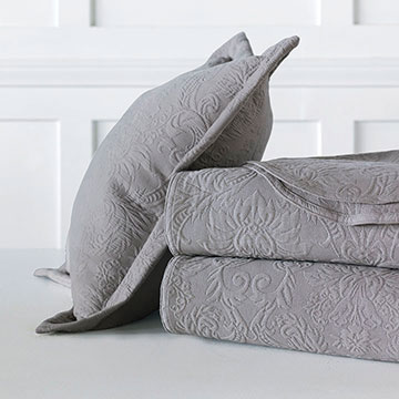 Sandrine Matelasse - Dove - bed skirt, dove, dovetail, grand sham, coverlet, throw, euro sham, king hsam, standard sham, boudoir, bed pillow, pillow, decorative pillow, accent pillow, throw pillow, flange, neutral, natural, 100% cototn, cotton, matelasse, quilted, bedding, bedding collection, bedset, home décor, home goods, accessories, interior design, cozy, soft, texture, luxury, luxurious, expensive, high end, high quality, good quality, Portugal, woven, Egyptian, egyptian cotton, damask, floral, traditional, design, pattern, motif, jacquard, grey, gray