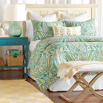 Barrymore - coastal, tropical, luxury bedding, beachy, designer, home decor, interior design, home goods, designer bedding, beach, island, spa, blue, green, yellow, lime, paisley, floral, pattern, leaf, handpainted, bedding, bedding collection, bedding ensemble, bedset, duvet cover, comforter, blanket, bed skirt, euro sham, king sham, standard sham, pillow, bed pillow, decorative pillow, accent pillow, throw pillow, boudoir, draperies, curtains, curtain panel, window treatment, geometric, 100% cotton, carefree, breezy, expensive, luxury, luxurious, high quality, high end