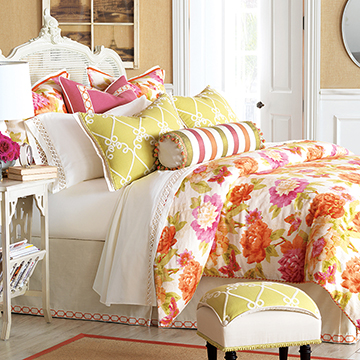 Caroline - eclectic bedding,bright floral bedding,orange and pink,pink and orange,transitional,feminine floral bedding,tween room bedding,teen girls bedding,lime green
