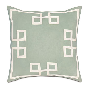 Resort Mint Fret Accent Pillow