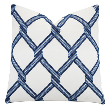 Newport Trellis Accent Pillow in Blue