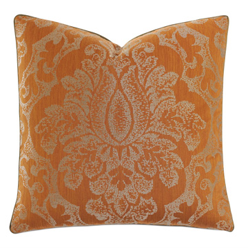 Ladue Damask Accent Pillow in Orange