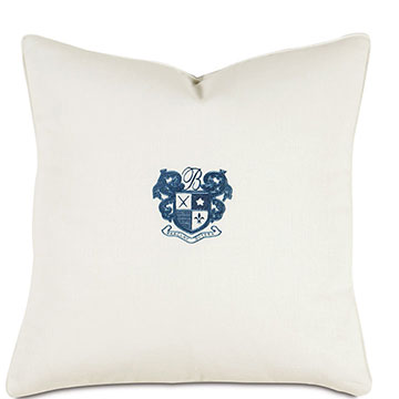 Shell/Indigo Embroidery Decorative Pillow