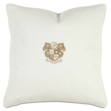 Shell/Bisque Embroidery Decorative Pillow