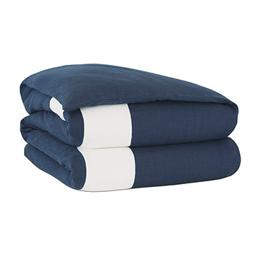 Bel Air Linen Duvet Cover in Indigo and Comforter