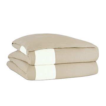 Bisque/Shell Border Duvet Cover and Comforter