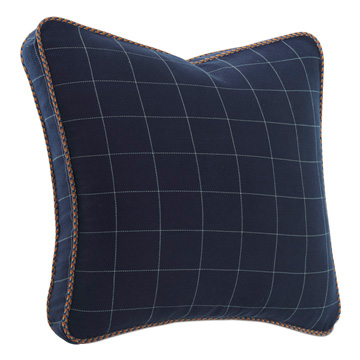 Ladue Checkered Boxed Euro Sham in Indigo
