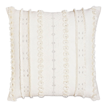 Justina Fringe Decorative Pillow in Ivory