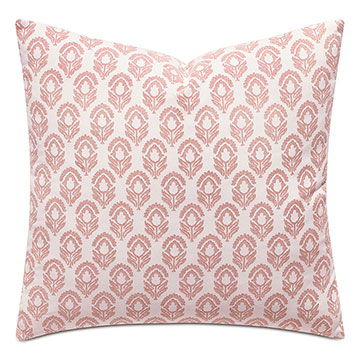 Mint Punch Botanical Accent Pillow in Salmon