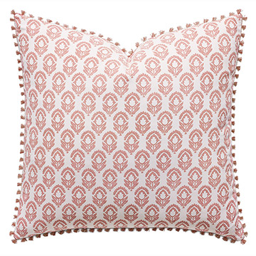 Mint Punch Botanical Euro Sham in Salmon