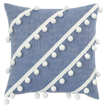 CASTAWAY DIAGONAL TRIM DECORATIVE PILLOW