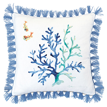 CASTAWAY HANDPAINTED DECORATIVE PILLOW