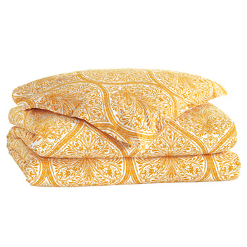 Adelle Percale Duvet Cover in Saffron and Comforter
