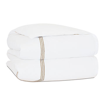 TESSA WHITE/BISQUE DUVET COVER and Comforter