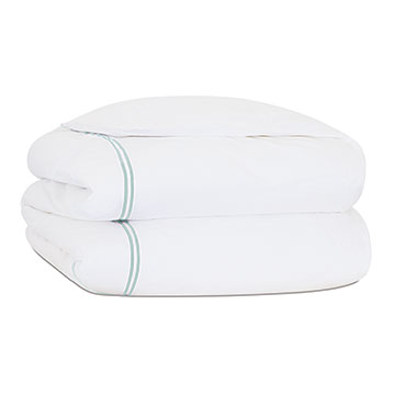 ENZO WHITE/LAKE DUVET COVER and Comforter