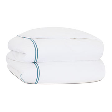 ENZO WHITE/OCEAN QUEEN DUVET COVER and Comforter