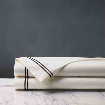 Enzo Ivory/Black Flat Sheet