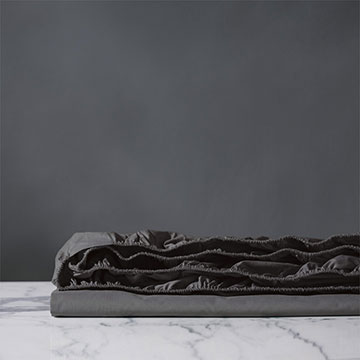 Vail Percale Fitted Sheet In Slate