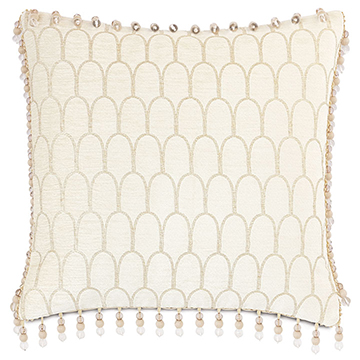 JOLENE BEADED TRIM DECORATIVE PILLOW