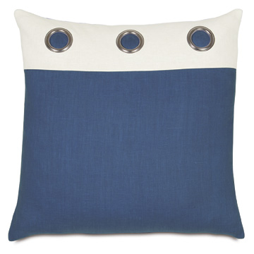 Maritime Grommet Accent Pillow in Blue