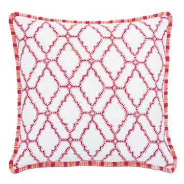 Paloma Brush Fringe Euro Sham in Coral