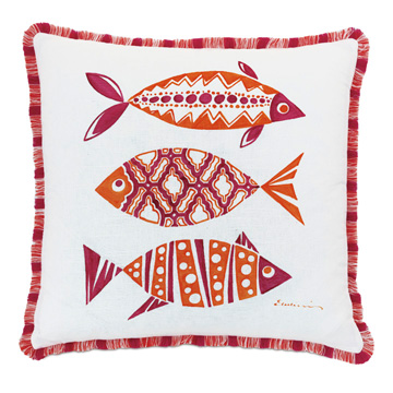 Paloma Hand Painted Decorative Pillow