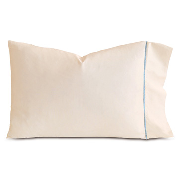 LINEA ECRU/AZURE PILLOWCASE
