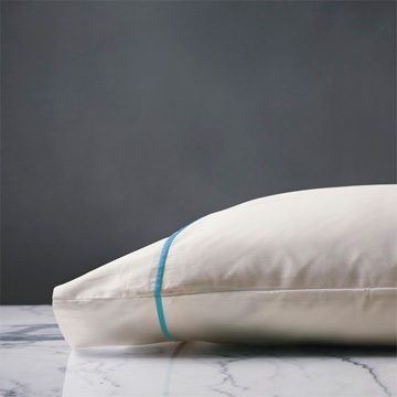 LINEA IVORY/AZURE PILLOWCASE