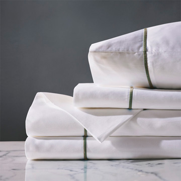 LINEA WHITE/OLIVA SHEET SET