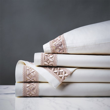JULIET WHITE/FAWN SHEET SET