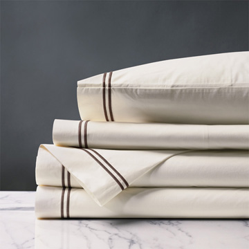 ENZO IVORY/BROWN SHEET SET