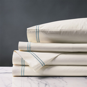 ENZO IVORY/LAKE SHEET SET