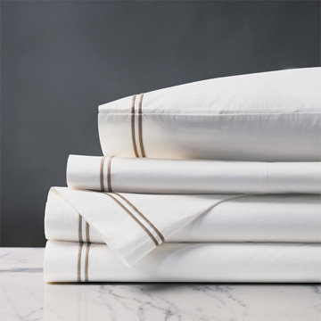 ENZO WHITE/SABLE SHEET SET