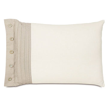 Maritime Pleated Left Standard Sham in Ivory