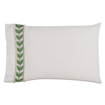 Akela Leaf Standard Sham in Green (Left)