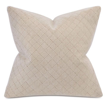 BRERA DIAGONAL TAILOR TACKS DECORATIVE PILLOW IN BISQUE