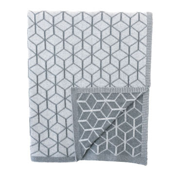 BOND GEOMETRIC KNIT THROW IN SLATE