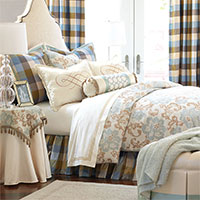 Kinsey - blue and gold floral bedding,funky floral bedding,colorful plaid,neutral floral,floral bedding,blue and brown bedding,blue and tan bedding,checkered bedding,silk